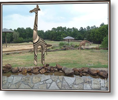Meadow With The Statue Of The Giraffe 7 Metal Print