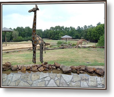 Meadow With The Statue Of The Giraffe 9 Metal Print