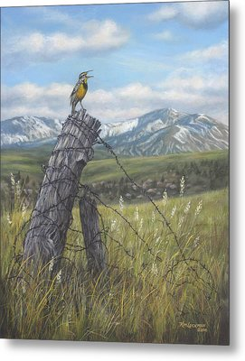 Meadowlark Serenade Metal Print by Kim Lockman