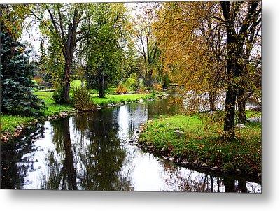 Meandering Creek In Autumn Metal Print