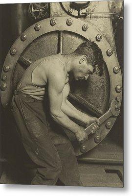 Mechanic And Steam Pump Metal Print by Lewis Wickes Hine