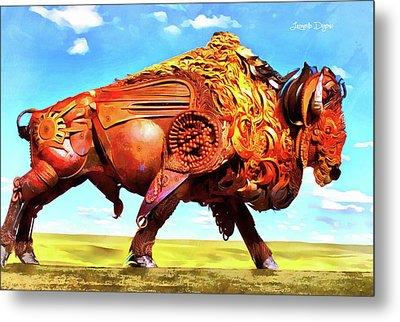 Mechanical Bull Metal Print