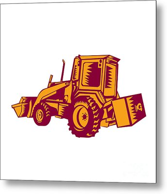 Mechanical Digger Excavator Woodcut Metal Print