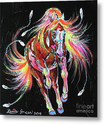 Medicine Fire Pony Metal Print by Louise Green