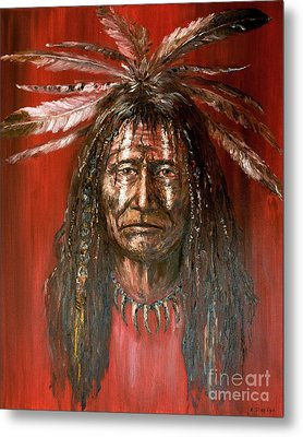 Metal Print featuring the painting Medicine Man by Arturas Slapsys