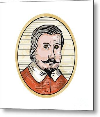 Medieval Aristocrat Gentleman Oval Woodcut Metal Print by Aloysius Patrimonio