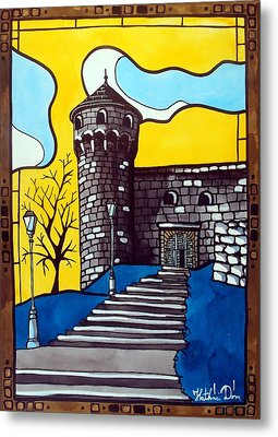 Metal Print featuring the painting Medieval Bastion -  Mace Tower Of Buda Castle Hungary By Dora Hathazi Mendes by Dora Hathazi Mendes