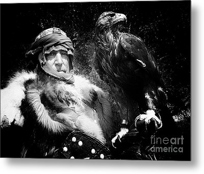 Metal Print featuring the photograph Medieval Fair Barbarian And Golden Eagle by Bob Christopher