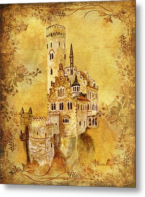 Medieval Golden Castle Metal Print by Angeles M Pomata