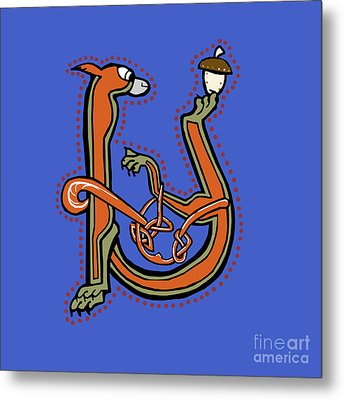 Medieval Squirrel Letter U Metal Print