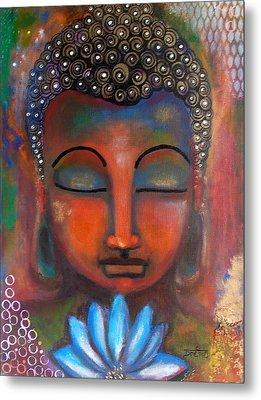 Meditating Buddha With A Blue Lotus Metal Print