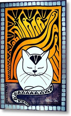 Meditation - Cat Art By Dora Hathazi Mendes Metal Print