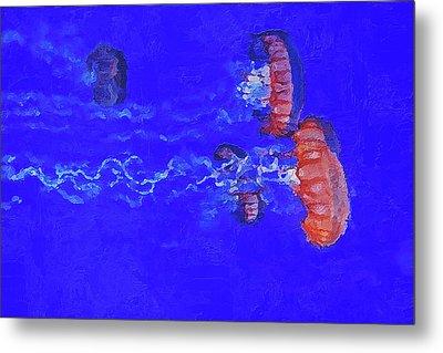Metal Print featuring the digital art Medusas Jellyfishes by PixBreak Art