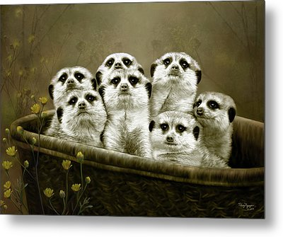 Metal Print featuring the digital art Meerkats by Thanh Thuy Nguyen