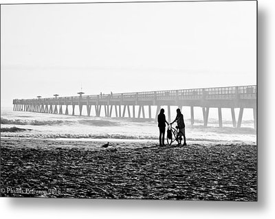 Metal Print featuring the photograph Meet At The Pier by Phyllis Peterson