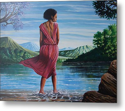 Metal Print featuring the painting Meet Me At The River by Anthony Mwangi