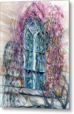 Meet Me In The Springtime - Stained Glass Window  Metal Print