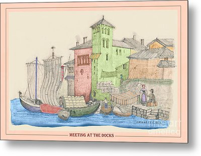 Meeting At The Docks Classic Metal Print by Donna Munro