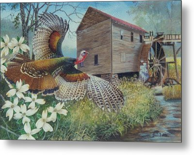 Meeting At The Mill  Sold Metal Print