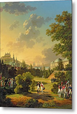 Meeting Between Napoleon I And Ferdinand IIi Metal Print by Hippolyte Lecomte