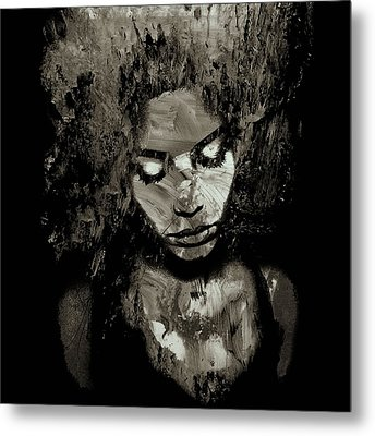 Melancholy And The Infinite Sadness Black And White Metal Print by Marian Voicu