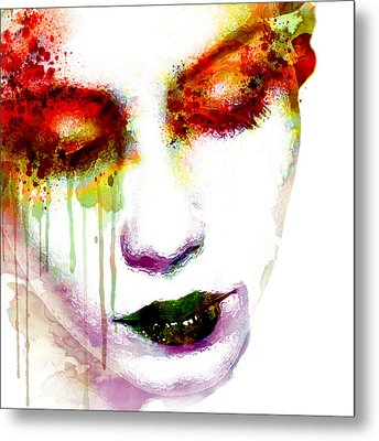 Melancholy In Watercolor Metal Print