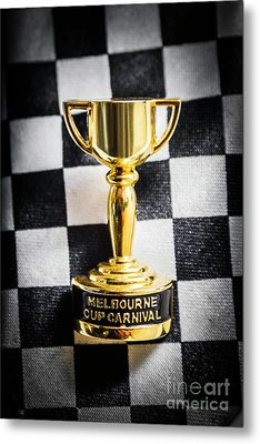 Melbourne Cup Pin On Mens Chequered Fashion Tie Metal Print by Jorgo Photography - Wall Art Gallery