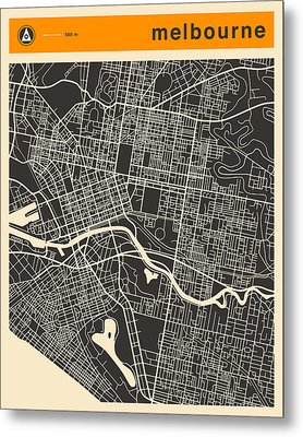 Melbourne Map Metal Print by Jazzberry Blue