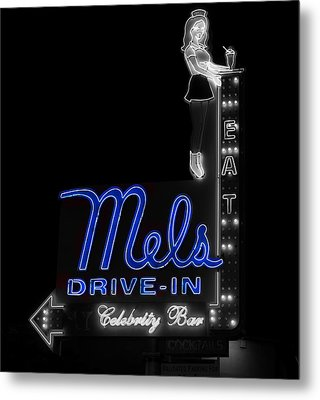Mel's Drive-in - Hollywood California Metal Print by Mountain Dreams