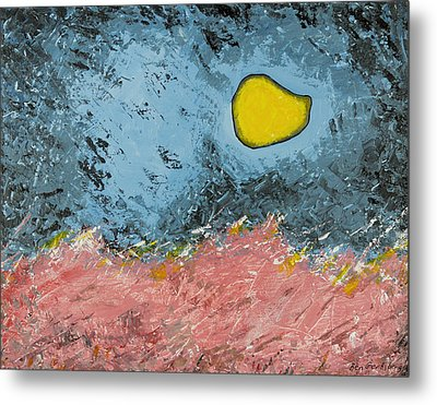 Metal Print featuring the painting Melting Moon Over Drifting Sand Dunes by Ben Gertsberg