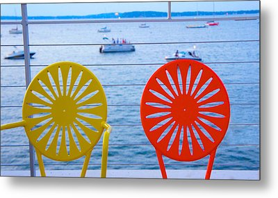 Memorial Union Terrace Chairs Metal Print by Art Spectrum