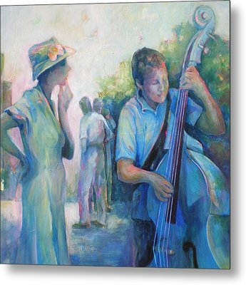 Memories -  Woman Is Intrigued By Musician.  Metal Print by Susanne Clark