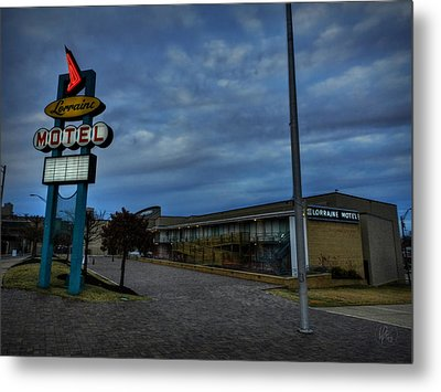 Memphis - Dark Clouds Over The Lorraine Motel Metal Print by Lance Vaughn