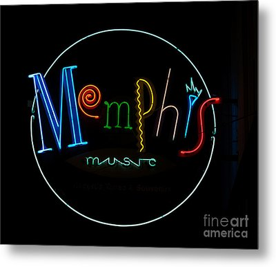Memphis Neon Sign Metal Print by Mindy Sommers