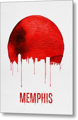 Memphis Skyline Red Metal Print by Naxart Studio