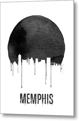 Memphis Skyline White Metal Print by Naxart Studio