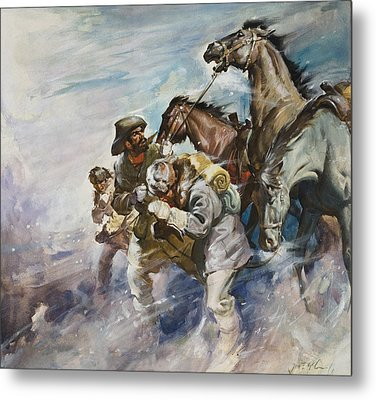 Men And Horses Battling A Storm Metal Print by James Edwin McConnell