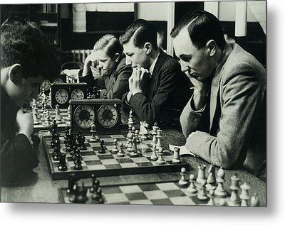 Men Concentrate On Chess Matches, 1940s Metal Print by Archive Holdings Inc.