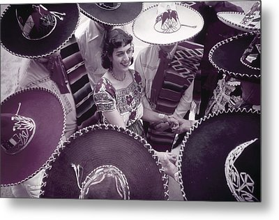 Men In Sombreros Surround A Woman Metal Print by B. Anthony Stewart