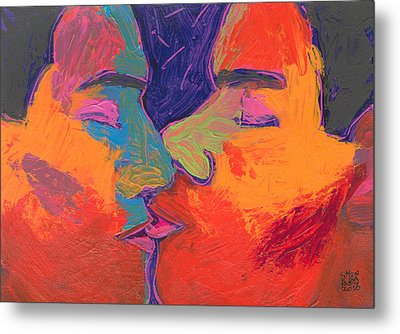 Men Kissing Colorful 2 Metal Print