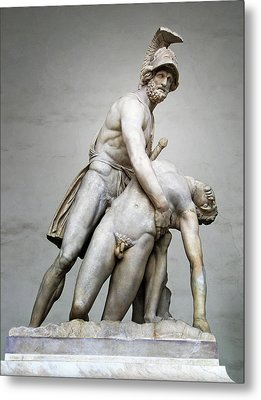 Menelaus And Patroclus Sculpture Metal Print by Artecco Fine Art Photography