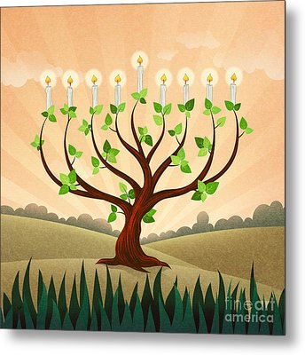 Menorah Tree Metal Print by Bedros Awak