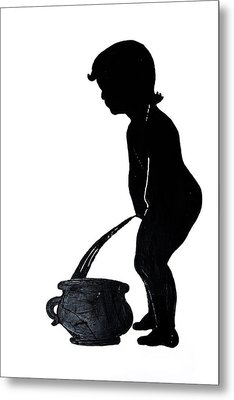 Mens Room Sign Silhouette Metal Print