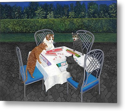 Meowjongg - Cats Playing Mahjongg Metal Print