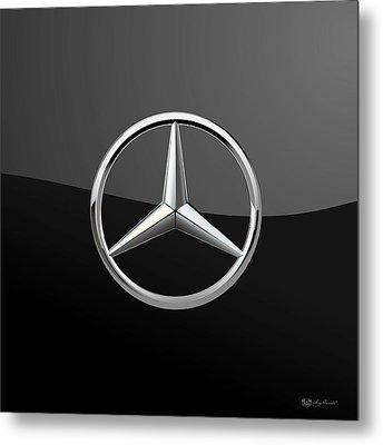 Mercedes-benz - 3d Badge On Black Metal Print by Serge Averbukh