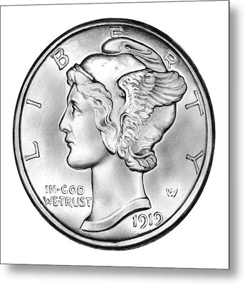 Mercury Dime Metal Print by Greg Joens