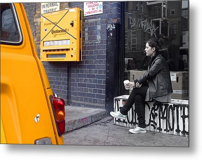 Merge Into Yellow Metal Print by Jez C Self