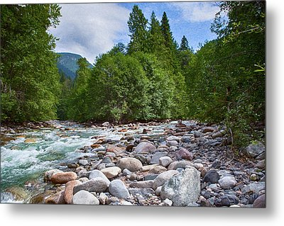Merging Rivers And Many Rocks Landscape Photography By Omashte Metal Print by Omaste Witkowski