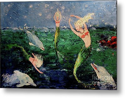 Mermaid Dance With Dolphins Metal Print