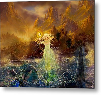 Metal Print featuring the painting Mermaid Enchantress by Steve Roberts